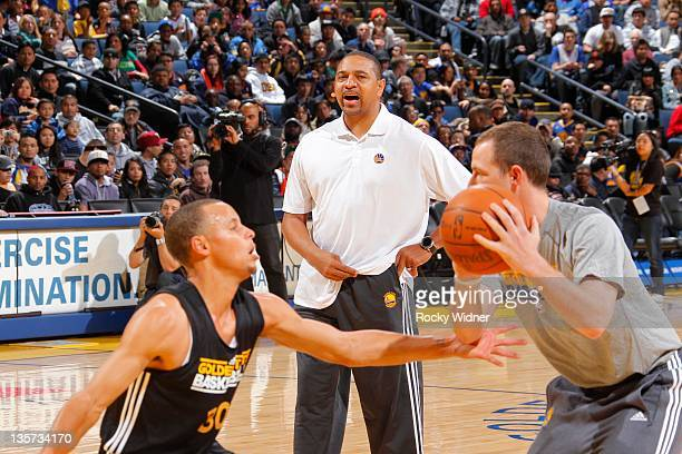 Head coach Mark Jackson of the Golden State Warriors looks on at the team's annual Open Practice on December 12 2011 in Oakland California NOTE TO...