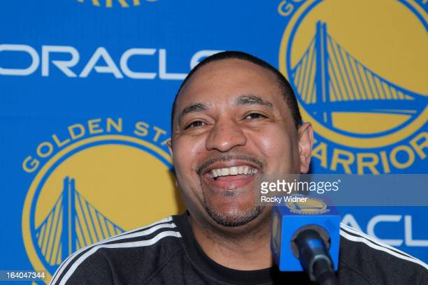 Head coach Mark Jackson of the Golden State Warriors speaks during a press conference before a game against the Houston Rockets on March 8 2013 at...