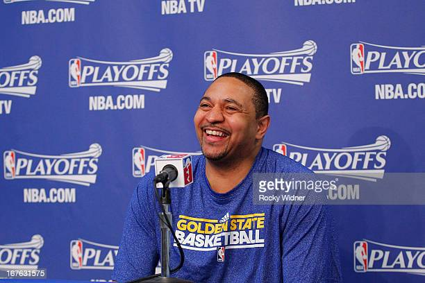 Head coach Mark Jackson of the Golden State Warriors speaks during a press conference before Game Three of the Western Conference Quarterfinals...