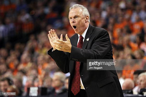 Head coach Mark Johnson of the Wisconsin Badgers shouts from the sidelines during their 2012 NCAA Men's Basketball East Regional Semifinal game at TD...