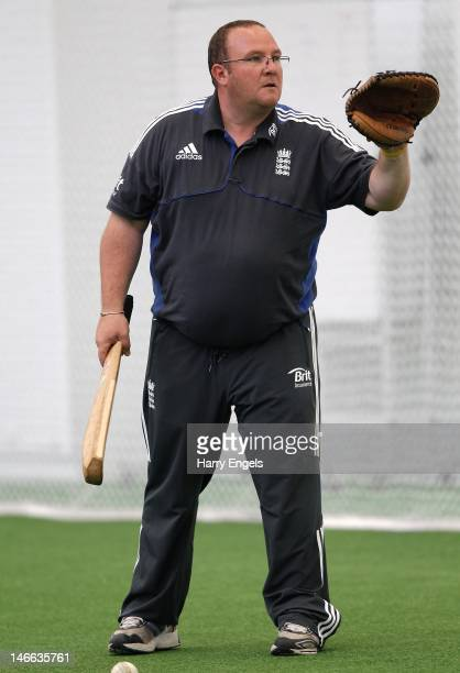 Head coach Mark Lane takes part in an indoor nets session at the National Cricket Performance Centre at Loughborough University on June 21 2012 in...