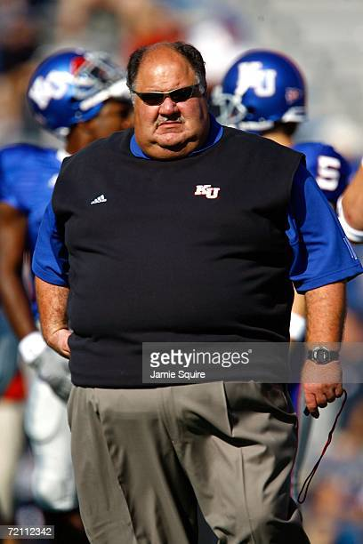 Head coach Mark Mangino of the Kansas Jayhawks looks on during pre-game warm-ups prior to the start of the game against the Texas A&M Aggies on...