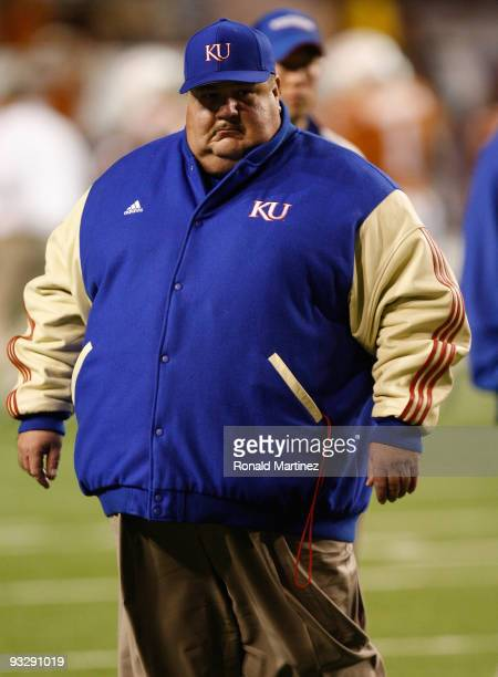 Head coach Mark Mangino of the Kansas Jayhawks on the field before a game against the Texas Longhorns at Darrell K Royal-Texas Memorial Stadium on...