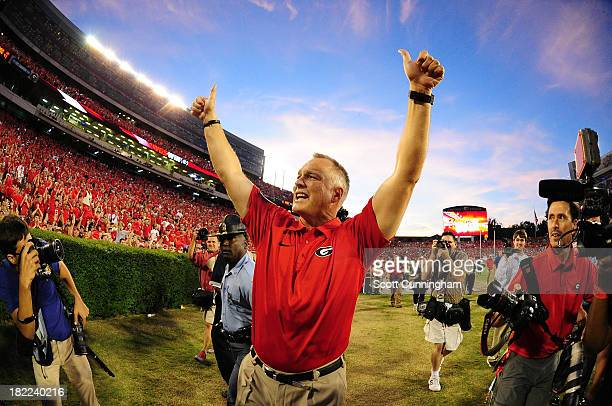 Head Coach Mark Richt of the Georgia Bulldogs celebrates after the game against the LSU Tigers at Sanford Stadium on September 28, 2013 in Athens,...