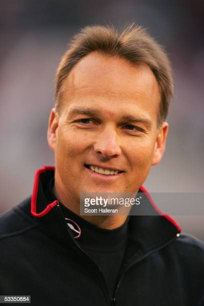 Head coach Mark Richt of the Georgia Bulldogs looks on before facing the Georgia Tech Yellow Jackets during the game at Sanford Stadium on November...