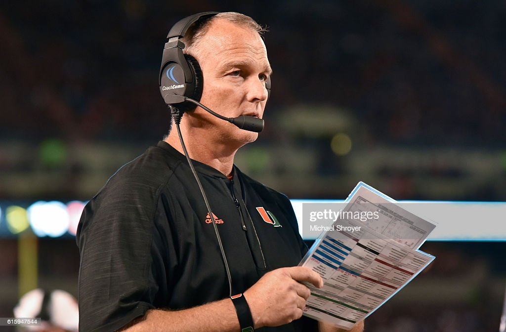 Head coach Mark Richt of the Miami Hurricanes looks on in the second half of the game against the Virginia Tech Hokies at Lane Stadium on October 20, 2016 in Blacksburg, Virginia. Virginia Tech defeated Miami 37-16.