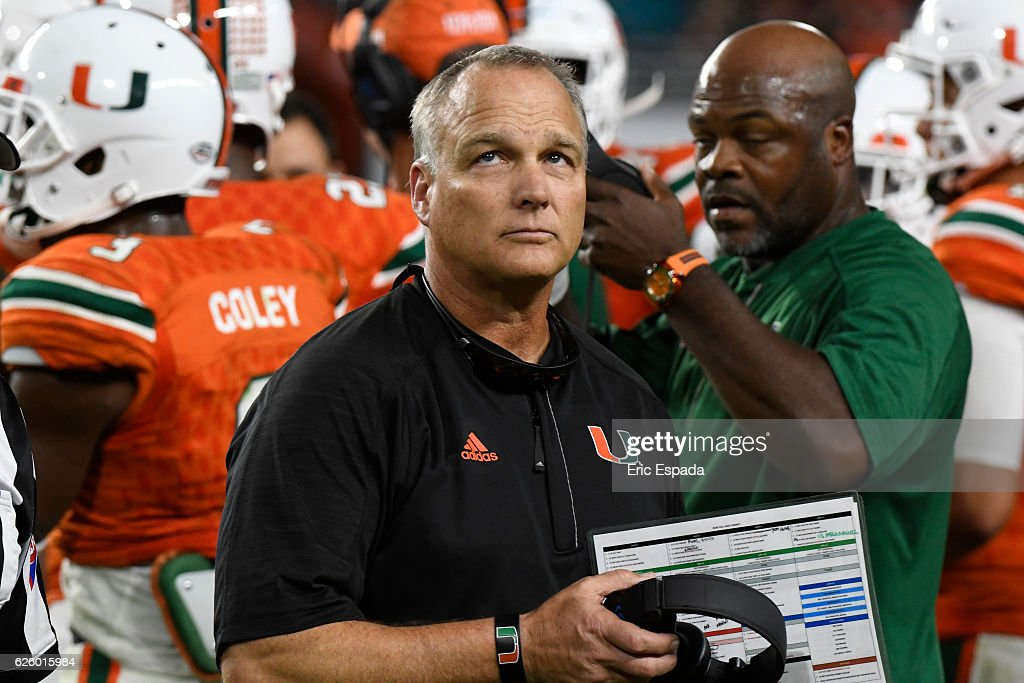Head Coach Mark Richt of the Miami Hurricanes looks up at the scoreboard during the 3rd quarter Duke Blue Devils at Hard Rock Stadium on November 26, 2016 in Miami Gardens, Florida.