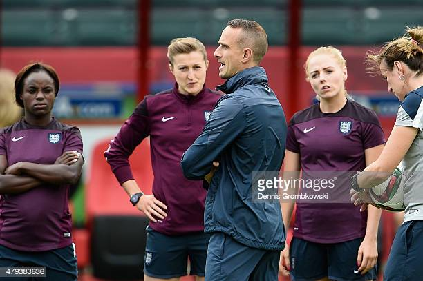 Head coach Mark Sampson of England reacts during a training session at Commonwealth Stadium on July 3, 2015 in Edmonton, Canada.
