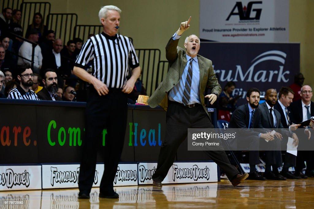 Head coach Mark Schmidt of the St. Bonaventure Bonnies yells to his team during the second half at Tom Gola Arena on February 13, 2018 in Philadelphia, Pennsylvania. St. Bonaventure defeated La Salle 79-68.