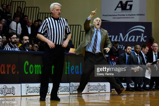 Head coach Mark Schmidt of the St Bonaventure Bonnies yells to his team during the second half at Tom Gola Arena on February 13 2018 in Philadelphia...