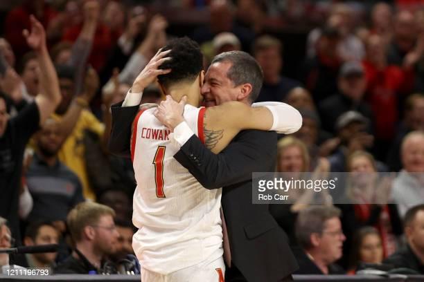 Head coach Mark Turgeon of the Maryland Terrapins hugs Anthony Cowan Jr #1 of the Maryland Terrapins during the closing seconds of the Terrapins 8370...
