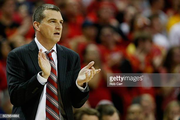 Head coach Mark Turgeon of the Maryland Terrapins looks on in the second half against the Penn State Nittany Lions at Xfinity Center on December 30...