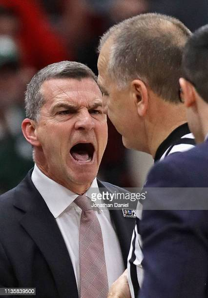 Head coach Mark Turgeon of the Maryland Terrapins yells at a referee during a game against the Nebraska Cornhuskers at the United Center on March 14...