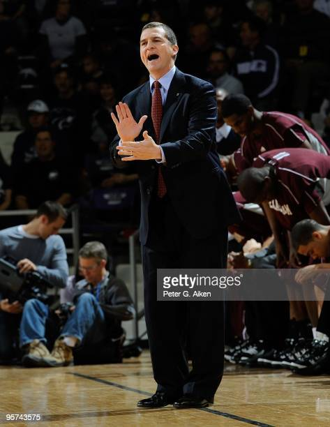 Head coach Mark Turgeon of the Texas A&M Aggies sends in a play during a game the Kansas State Wildcats on January 12, 2010 at Bramlage Coliseum in...