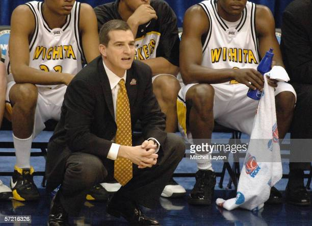 Head coach Mark Turgeon of the Wichita State Shockers watches the action against the George Mason Patriots during the Regionals of the NCAA Men's...