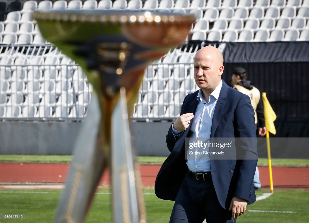 Head coach Marko Nikolic of Partizan looks on prior the final match of Serbian Cup between Fc Partizan and Fc Crvena Zvezda on May 27, 2017 in Belgrade, Serbia.