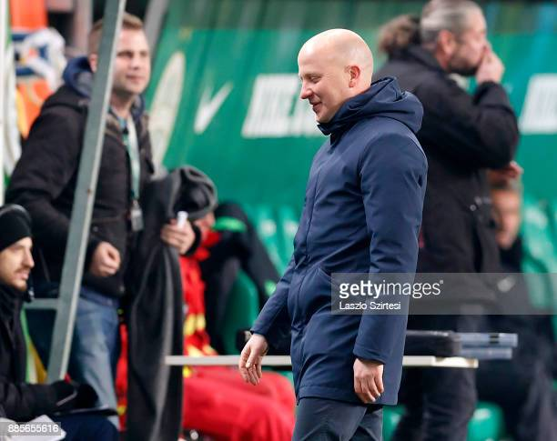 Head coach Marko Nikolic of Videoton FC reacts during the Hungarian OTP Bank Liga match between Ferencvarosi TC and Videoton FC at Groupama Arena on...