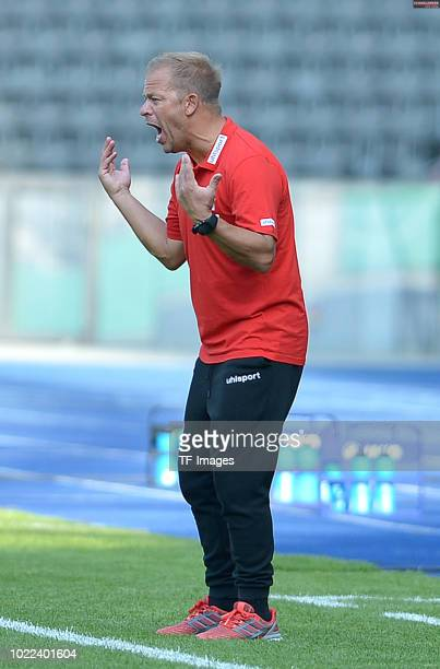 Head coach Markus Anfang of FC Koeln gestures during the DFB Cup first round match between BFC Dynamo and 1 FC Koeln at Olympiastadion on August 19...