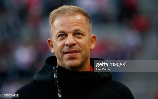 Head coach Markus Anfang of Koeln is seen prior to the Second Bundesliga match between 1 FC Koeln and FC Ingolstadt 04 at RheinEnergieStadion on...