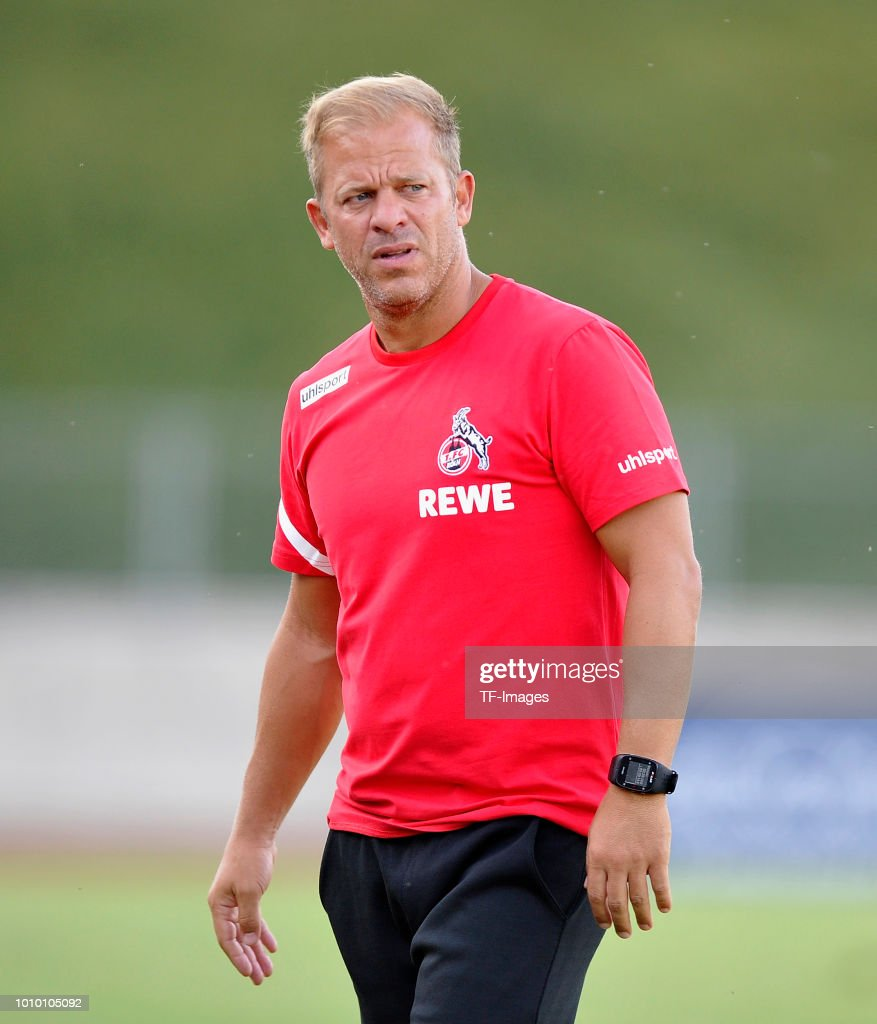 Head coach Markus Anfang of Koeln looks on during the pre-season friendly match between 1. FC Koeln and 1. FSV Mainz 05 at Sportpark Nord on July 27, 2018 in Bonn, Germany.