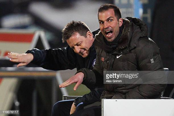Head coach Markus Babbel and assistant coach Rainer Widmayer react during the Second Bundesliga match between Greuther Fuerth and Hertha BSC Berlin...