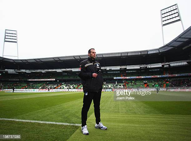 Head coach Markus Babbel of Hoffenheim is seen prior to the Bundesliga match between SV Werder Bremen and 1899 Hoffenheim at Weser Stadium on...