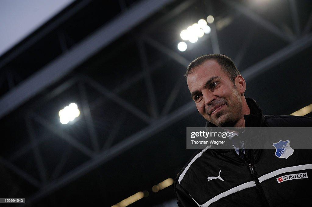 Head coach Markus Babbel of Hoffenheim looks on prior to the Bundesliga match between Fortuna Duesseldorf and TSG 1899 Hoffenheim at Esprit-Arena on November 10, 2012 in Duesseldorf, Germany.