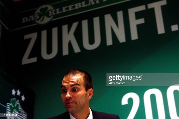 Head coach Markus Babbel of Stuttgart leaves the press conference after the DFB Cup match between SpVgg Greuther Fuerth and VfB Stuttgart at the...