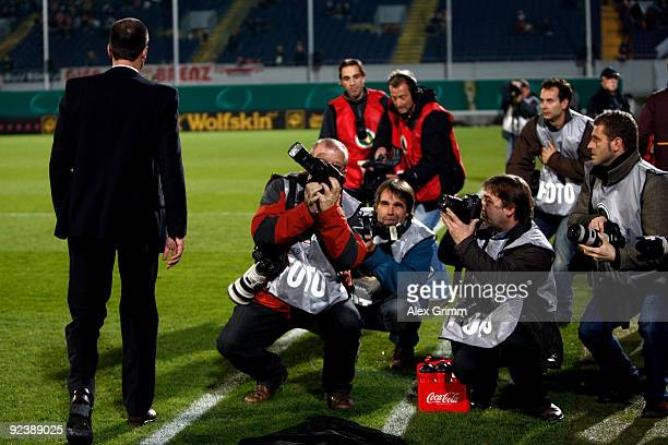Head coach Markus Babbel of Stuttgart walks past photographers before the DFB Cup match between SpVgg Greuther Fuerth and VfB Stuttgart at the...