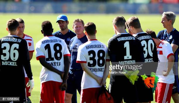Head coach Markus Gisdol looks gives instructions during a training session of Hamburger SV at Volksparkstadion on July 9 2017 in Hamburg Germany