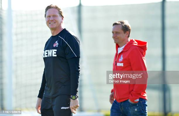 Head coach Markus Gisdol of 1. FC Koeln and CEO Sport Horst Heldt of 1. FC Koeln laughs during the 1. FC Koeln winter training camp on January 8,...