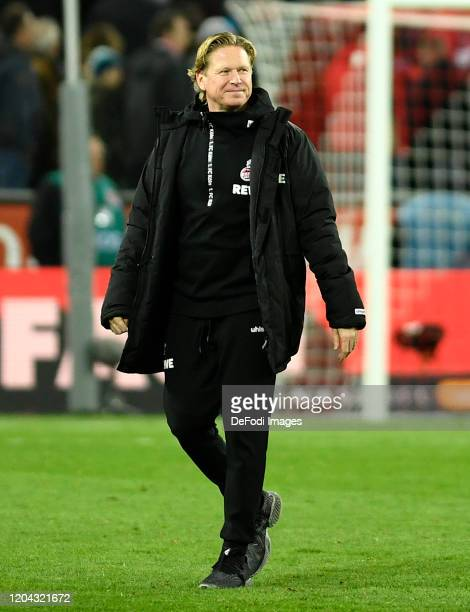 Head coach Markus Gisdol of 1. FC Koeln smiles during the Bundesliga match between 1. FC Koeln and FC Schalke 04 at RheinEnergieStadion on February...