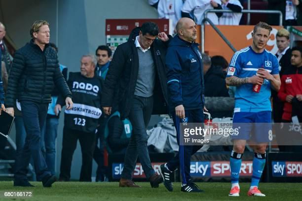 Head coach Markus Gisdol of Hamburg and Jens Todt of Hamburg looks dejected during the Bundesliga match between FC Augsburg and Hamburger SV at WWK...