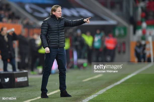 Head coach Markus Gisdol of Hamburg gestures during the Bundesliga match between FC Augsburg and Hamburger SV at WWK-Arena on January 13, 2018 in...