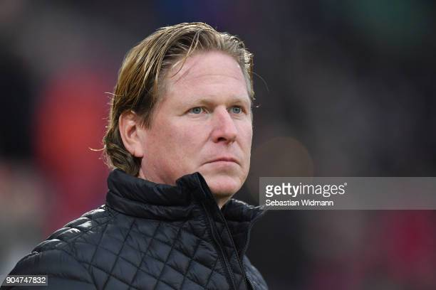 Head coach Markus Gisdol of Hamburg looks on prior to the Bundesliga match between FC Augsburg and Hamburger SV at WWK-Arena on January 13, 2018 in...