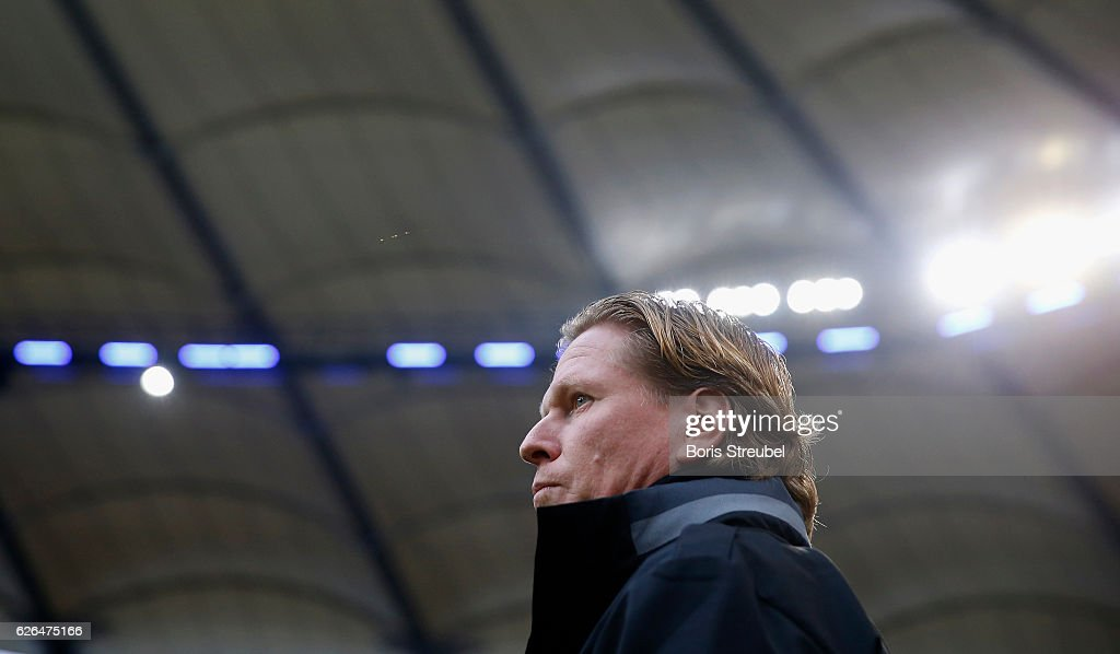 Head coach Markus Gisdol of Hamburger SV looks on prior to the Bundesliga match between Hamburger SV and Werder Bremen at Volksparkstadion on November 26, 2016 in Hamburg, Germany.