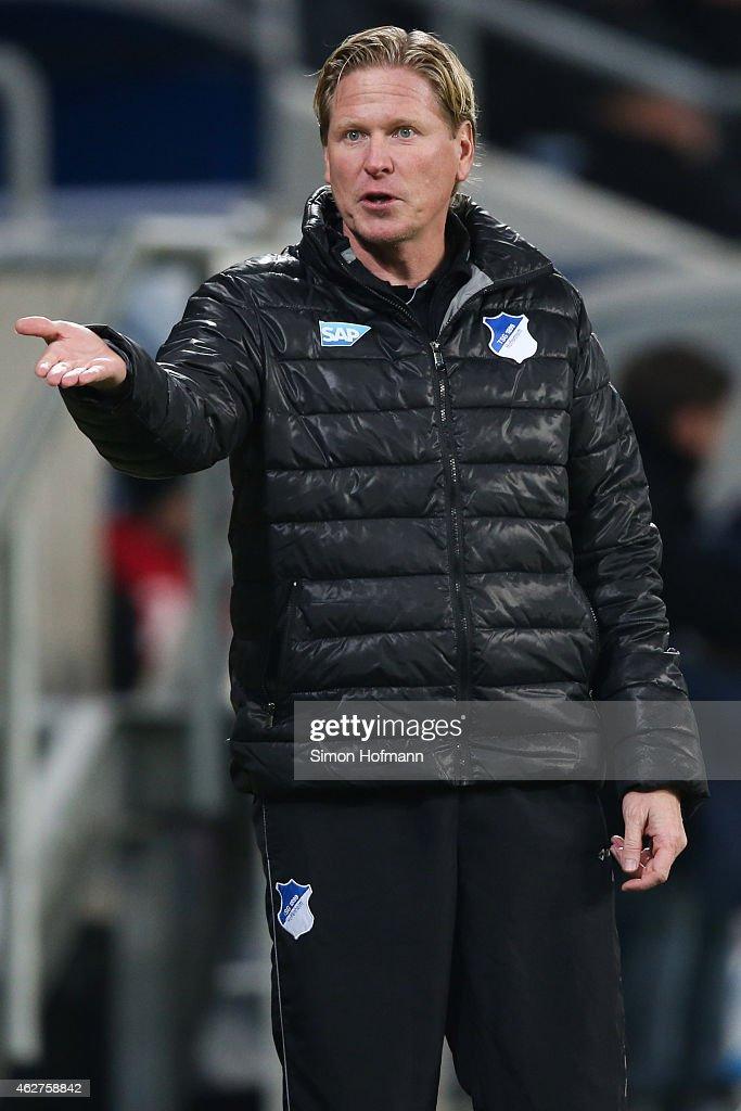 Head coach Markus Gisdol of Hoffenheim reacts during the Bundesliga match between TSG 1899 Hoffenheim and SV Werder Bremen at Wirsol Rhein-Neckar-Arena on February 4, 2015 in Sinsheim, Germany.