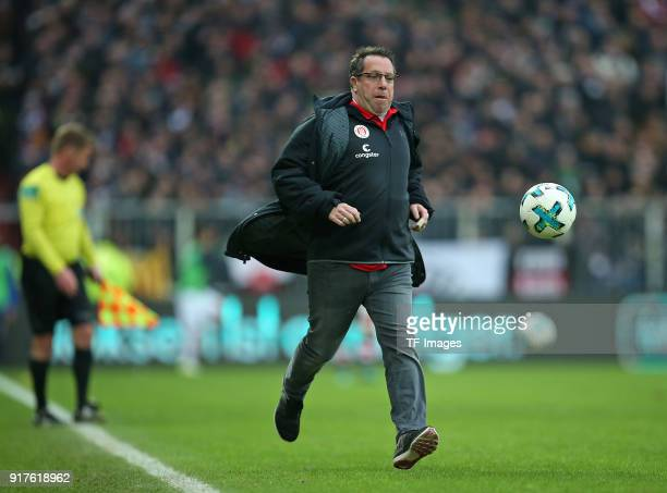 Head coach Markus Kauczinski of St Pauli controls the ball during the Second Bundesliga match between FC St Pauli and SV Darmstadt 98 at Millerntor...