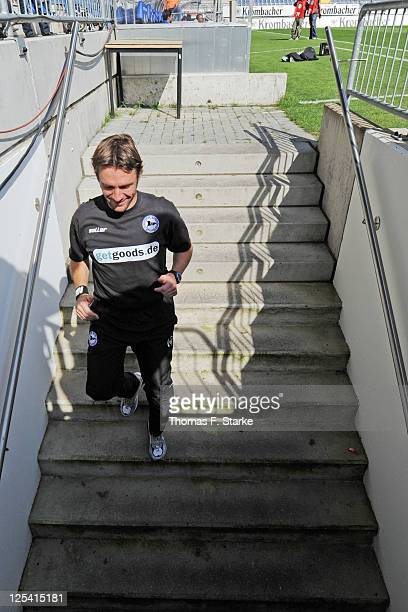 Head coach Markus von Ahlen of Bielefeld leaves the pitch prior to the Third League match between Arminia Bielefeld and 1. FC Saarbruecken at the...