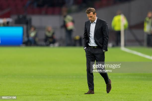 Head coach Markus Weinzierl of Schalke is seen before the UEFA Europa League Quarter Final first leg match between Ajax Amsterdam and FC Schalke 04...