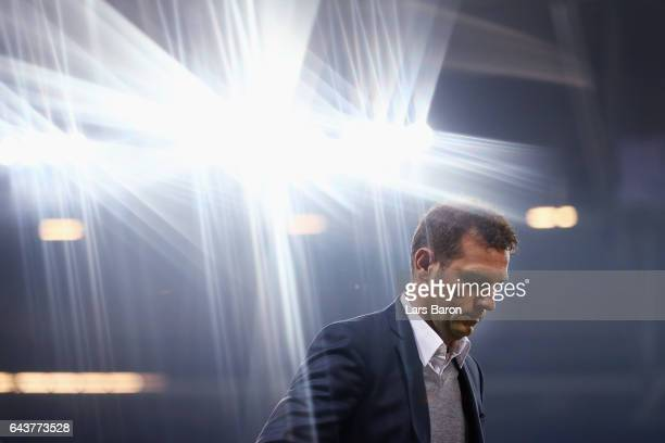 Head coach Markus Weinzierl of Schalke looks on prior to the UEFA Europa League Round of 32 second leg match between FC Schalke 04 and PAOK Saloniki...