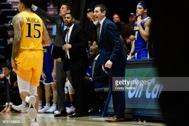 Head coach Martin Ingelsby of the Delaware Fightin Blue Hens yells to his team against the Drexel Dragons during the first half at the Daskalakis...