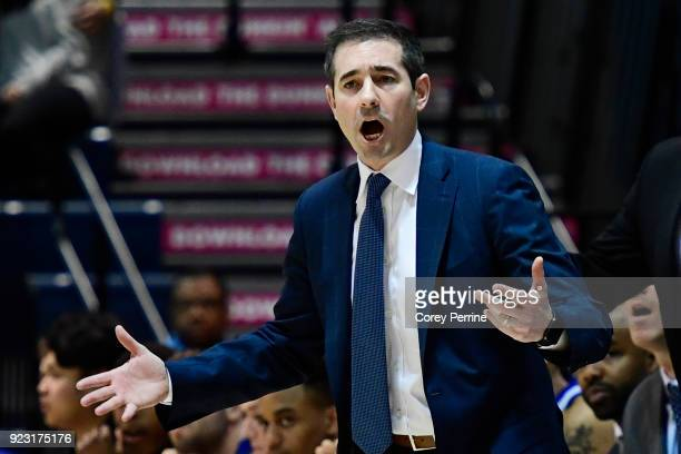 Head coach Martin Ingelsby of the Delaware Fightin Blue Hens yells to his team against the Drexel Dragons during the second half at the Daskalakis...