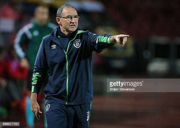 Head coach Martin O'Neill of Ireland reacts during the FIFA 2018 World Cup Qualifier between Serbia and Ireland at stadium Rajko Mitic on September 5...
