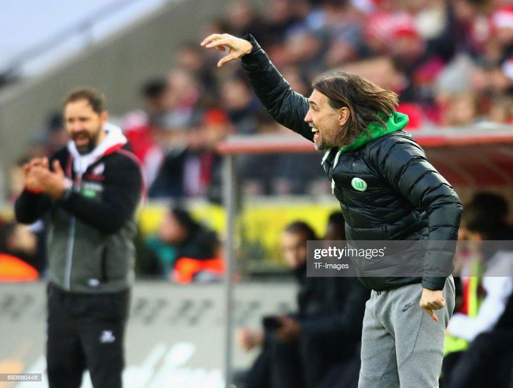 Head coach Martin Schmidt of Wolfsburg gestures during the Bundesliga match between 1. FC Koeln and VfL Wolfsburg at RheinEnergieStadion on December 16, 2017 in Cologne, Germany.