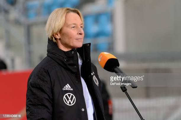 Head coach Martina Voss-Tecklenburg of Germany gives an interview after the FIFA Women's World Cup 2023 Qualifier group H match between Germany and...