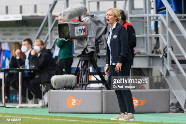 Head coach Martina Voss-Tecklenburg of Germany looks on during the FIFA Women's World Cup 2023 Qualifier group H match between Germany and Serbia at...