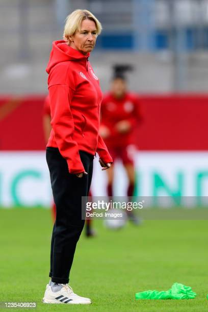 Head coach Martina Voss-Tecklenburg of Germany looks on prior to the FIFA Women's World Cup 2023 Qualifier group H match between Germany and Serbia...
