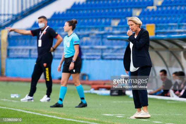 Head Coach Martina VossTecklenburg of Germany reacts during the UEFA Women's EURO 2022 Qualifier match between Montenegro and Germany at Pod Goricom...