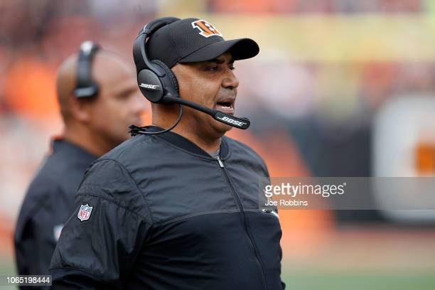 Head coach Marvin Lewis of the Cincinnati Bengals calls a play during the second quarter of the game agains the Cleveland Browns at Paul Brown...